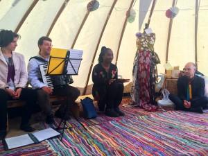 Wendy Shearer storytelling in the Yurt