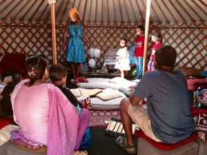 Wendy Shearer in the storytelling Yurt - Night of Festivals