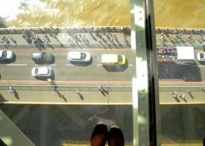 Wendy Shearer storytelling on the glass floor Walkway at Tower Bridge