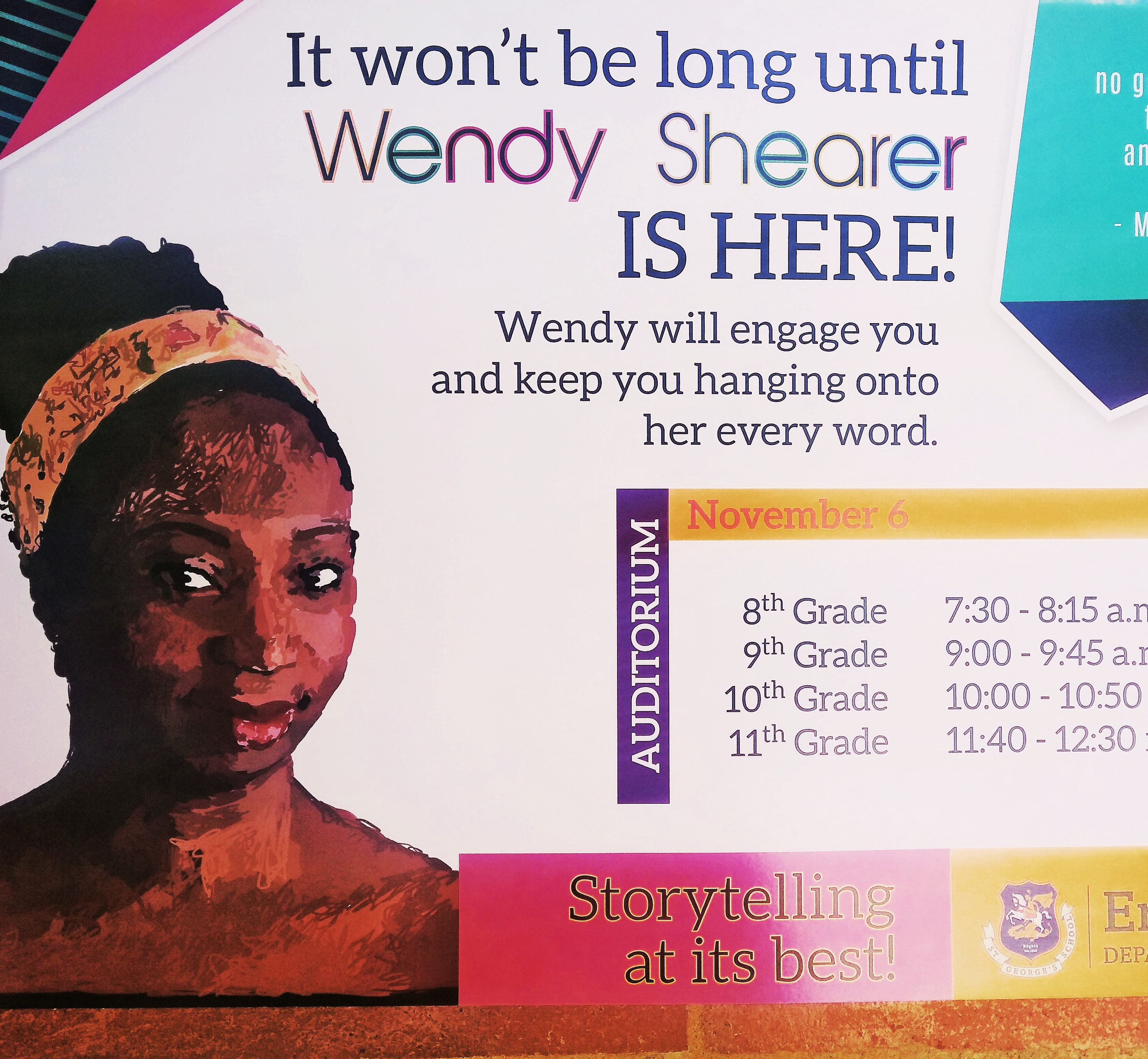 A poster of Wendy Shearer Storytelling in Colombia