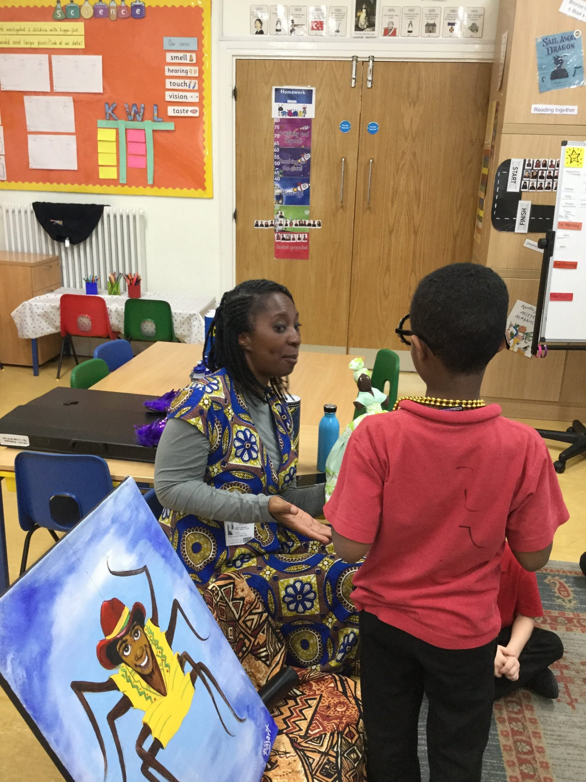 Duncombe Primary pupils storytelling with Wendy Shearer